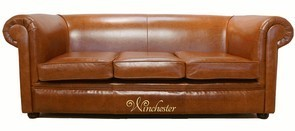 Chesterfield 1930 3 Seater Settee Old English Bruciatto Leather Sofa