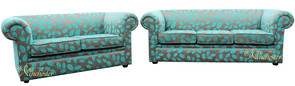 Chesterfield 1930's 3 Seater + 2 Seater Sofa Settee Orchard Leaf Turquoise Fabric