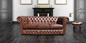 Chesterfield 3 Seater Antique Tan Leather Sofa Settee Offer