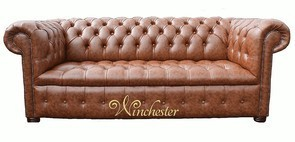 Chesterfield 3 Seater Buttoned Seat Teak Faux Leather Sofa Offer