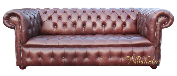 Chesterfield 3 Seater Settee Buttoned Seat Old English Hazel Leather Sofa