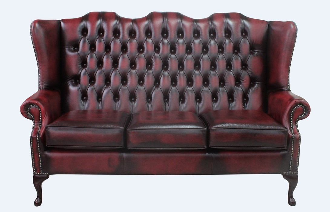 Chesterfield 3 Seater Mallory Queen Anne High Back Wing