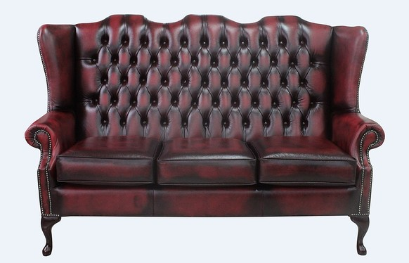 Chesterfield 3 Seater Mallory Queen Anne High Back Wing Sofa Chair Antique Oxblood Leather