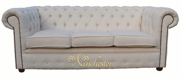 Chesterfield 3 Seater Settee Monaco Chalk Fabric Sofa Offer