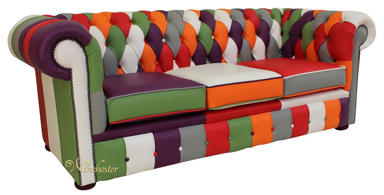 Chesterfield Patchwork 3 Seater Settee Leather Sofa Offer
