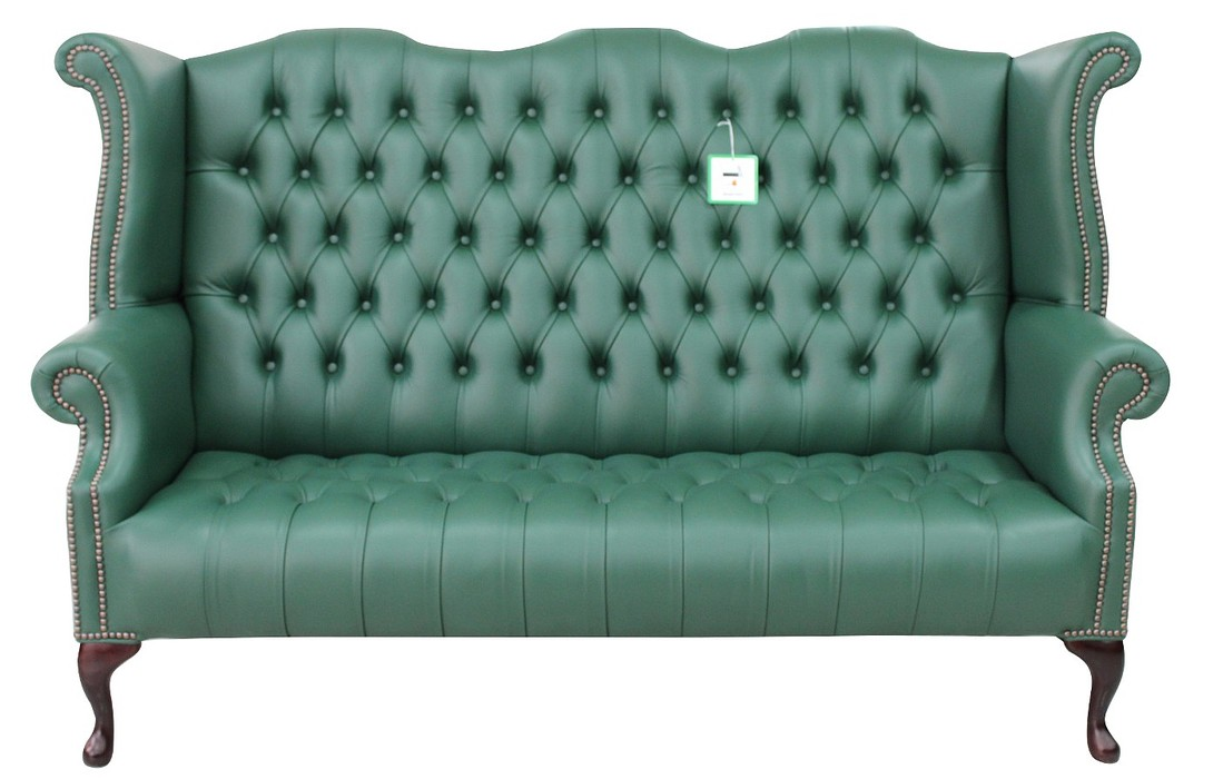 green chesterfield 3 seater high back wing sofa designersofas4u. Black Bedroom Furniture Sets. Home Design Ideas