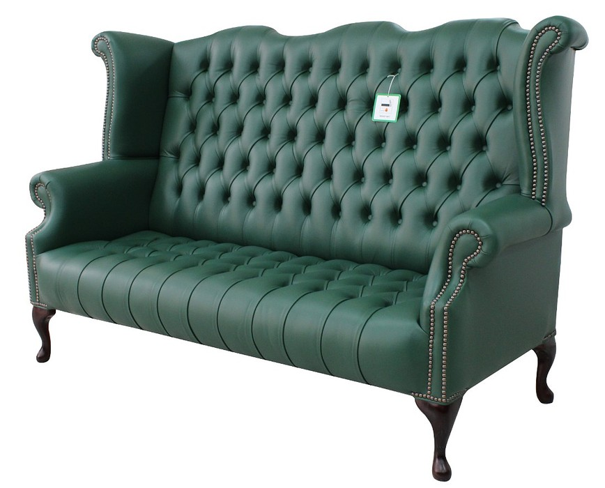 Chesterfield 3 Seater Queen Anne Oned Seat High Back Wing Sofa Bottle Green Leather