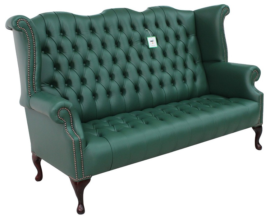 Green Chesterfield 3 Seater High Back Wing Sofa