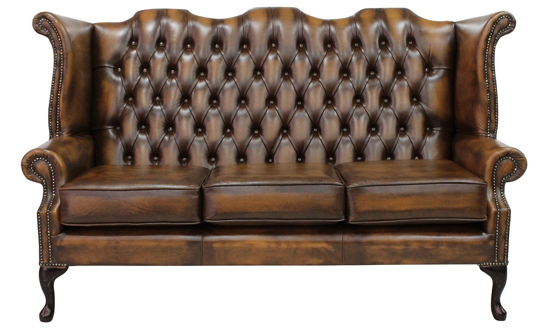 Chesterfield 3 Seater Queen Anne High Back Wing Sofa Chair Antique Tan  Leather UK Manufactured - Tan Chesterfield 3 Seater High Back Chair DesignerSofas4U