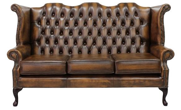 Chesterfield 3 Seater Queen Anne High Back Wing Sofa Chair Antique Tan Leather UK Manufactured