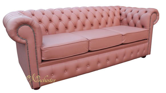 Chesterfield 3 Seater Settee Russet Leather Sofa Offer