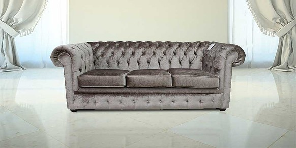 Chesterfield 3 Seater Settee Boutique Beige Velvet Sofa Offer