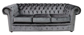 Chesterfield 3 Seater Settee Boutique Storm Velvet Sofa Offer
