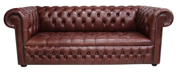Chesterfield 3 Seater Settee Buttoned Seat Old English Dark Brown Leather Sofa