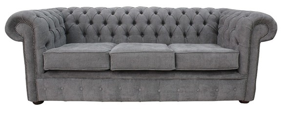 Chesterfield 3 Seater Settee Marinello Pewter Fabric Sofa Offer