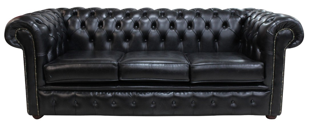 Black Chesterfield 3 Seater Settee sofa | DesignerSofas4U