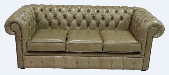 Chesterfield 3 Seater Settee Old English Sand Leather Sofa