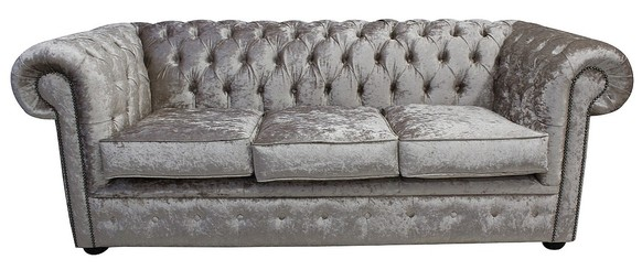 Chesterfield 3 Seater Settee Shimmer Mink Velvet Sofa Offer