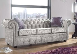 Chesterfield 3 Seater Settee Shimmer Silver Velvet Sofa Offer