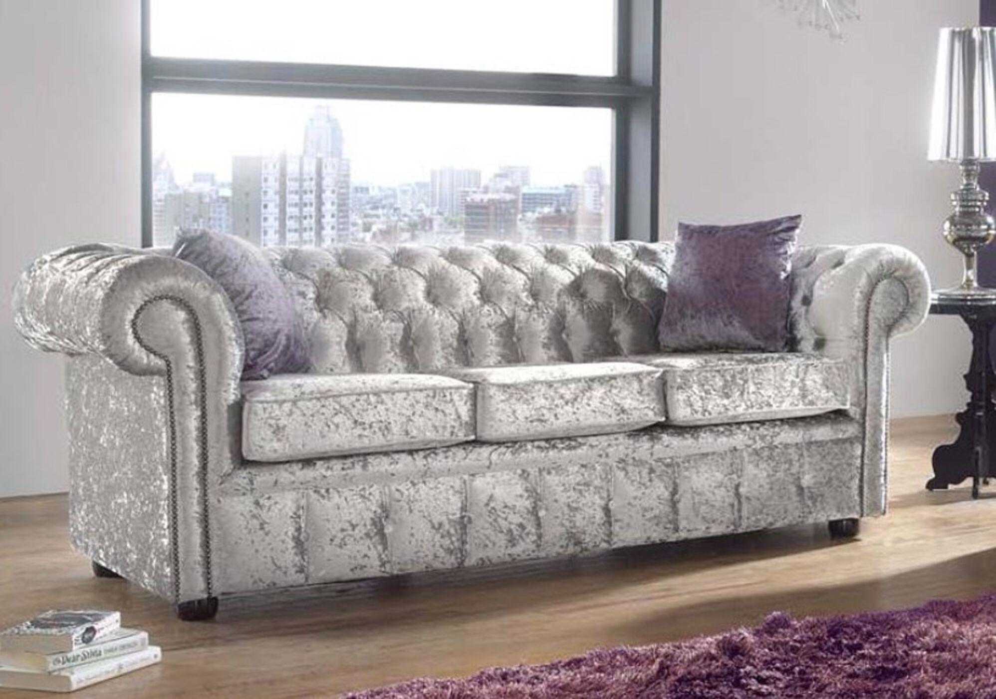 Chesterfield 3 Seater Settee Shimmer Silver Velvet Sofa Offer