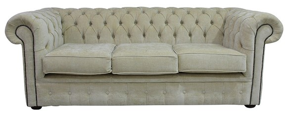 Chesterfield 3 Seater Settee Velluto Chiffon Beige Fabric Sofa Offer