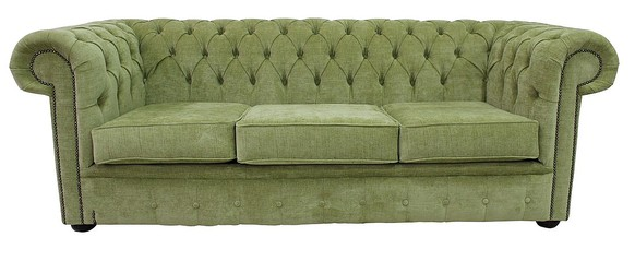 Chesterfield 3 Seater Settee Velluto Lime Green Fabric Sofa Offer