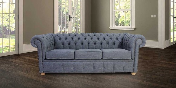 Chesterfield 3 Seater Settee Zoe Granite Grey Fabric Sofa Offer