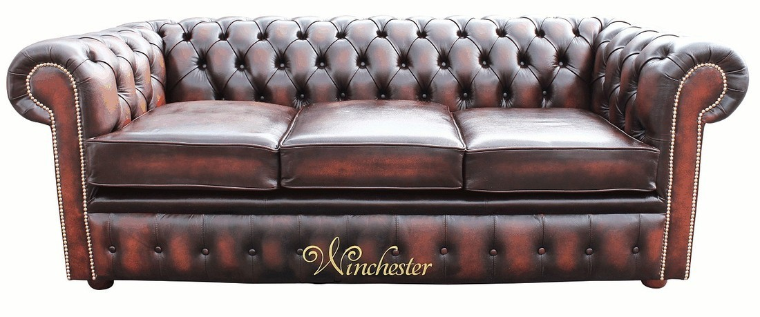 Chesterfield 3 Seater Sofa Antique Rust Leather Wc