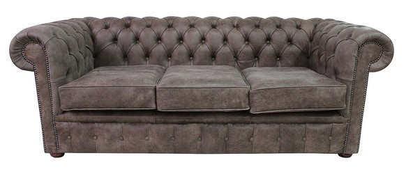 Chesterfield 3 Seater Sofa Devil Arabica Aniline Leather Settee