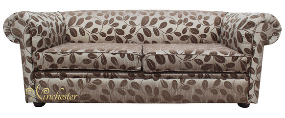 Chesterfield 1930's 3 Seater Sofa Settee Orchard Leaf Mocha Fabric