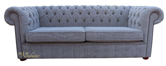 Chesterfield 3 Seater Sofa Settee Harley Slate Grey Fabric Offer 2 Cushion Style