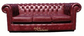 Chesterfield 3 Seater Settee Old English Burgandy Leather Sofa