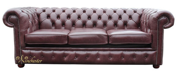 Chesterfield 3 Seater Settee Old English Red Brown Leather Sofa
