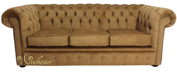 Chesterfield 3 Seater Settee Perla Bronze Velvet Sofa Offer