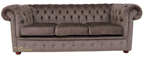 Chesterfield 3 Seater Settee Perla Dusk Charcoal Grey Velvet Sofa Offer