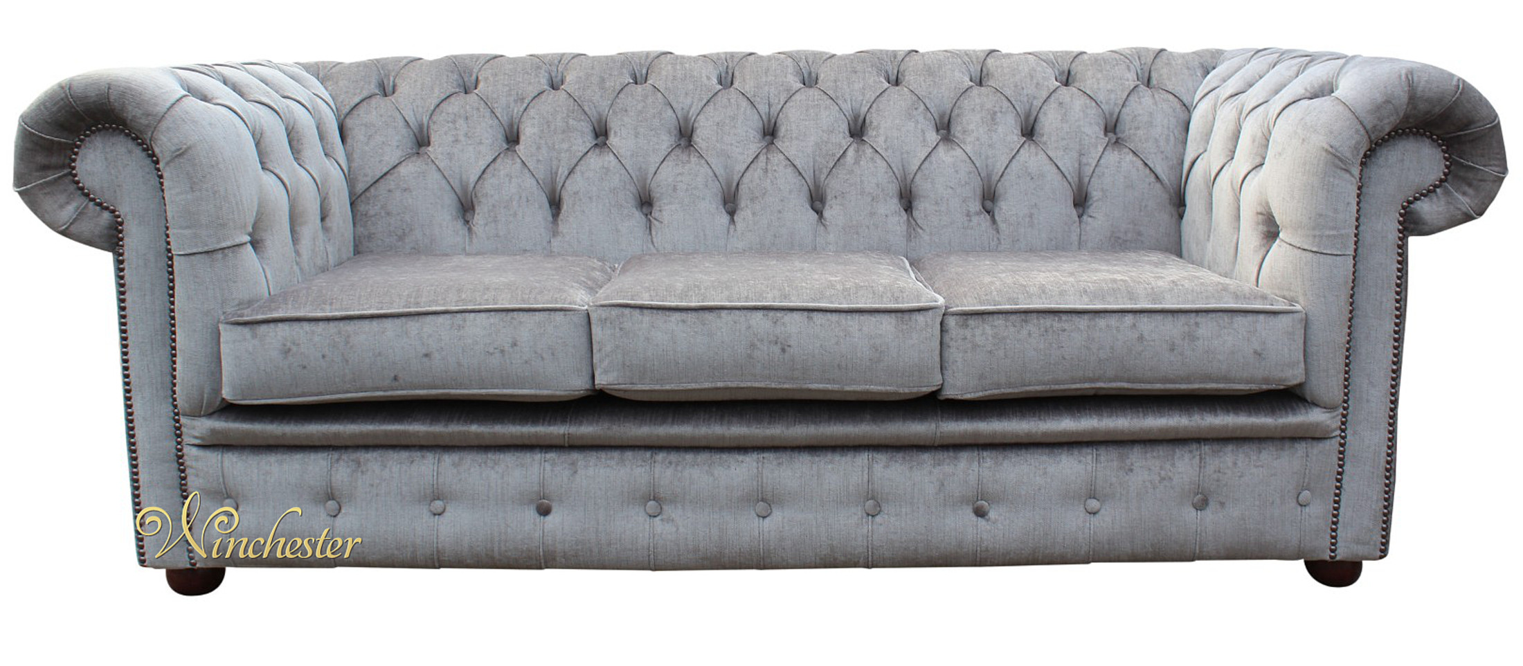 Chesterfield 3 Seater Sofa Settee Perla Illusions Grey Wc