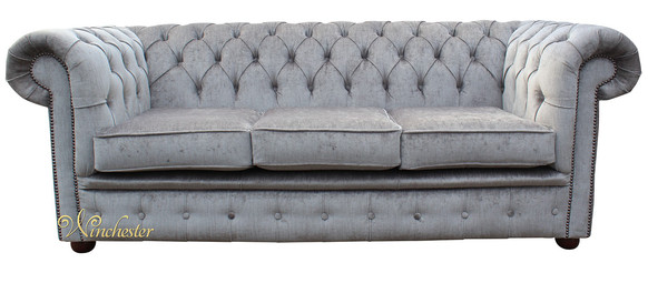 Chesterfield 3 Seater Settee Perla Illusions Grey Velvet Sofa Offer