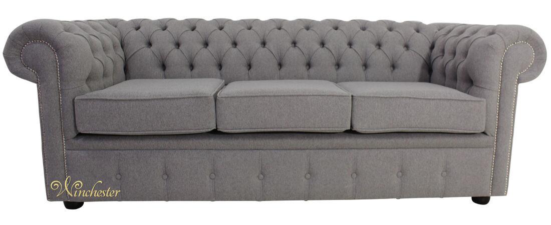 Chesterfield 3 Seater Settee Proposta Steel Grey Fabric Sofa ...