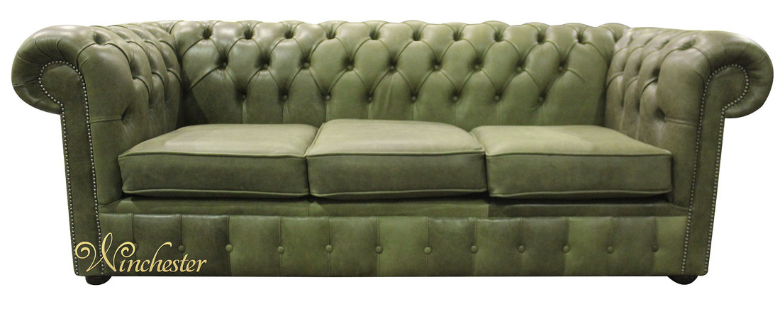 Chesterfield 3 Seater Sofa Settee Selvaggio Sage Green Fabric Wc