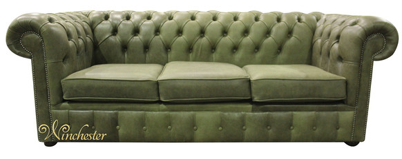 Chesterfield 3 Seater Settee Selvaggio Sage Green Leather Sofa