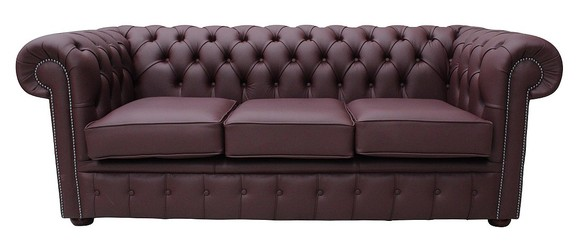 Chesterfield 3 Seater Sofa Settee Shelly Burgandy Leather