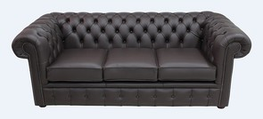 Chesterfield 3 Seater Sofa Settee Shelly Dark Chocolate Leather