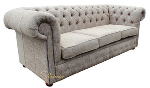 Chesterfield 3 Seater Settee Tiffiny Sky Plain Fabric Sofa Offer