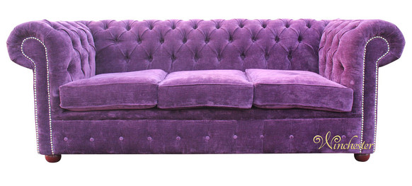 Chesterfield 3 Seater Settee Velluto Amethyst Fabric Sofa Offer