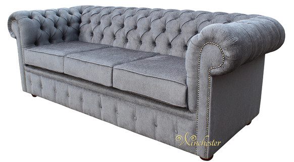 Chesterfield 3 Seater Settee Verity Plain Steel Fabric Sofa Offer