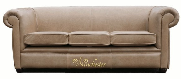 Chesterfield 1930 3 Seater Settee Old English Parchment Leather Sofa