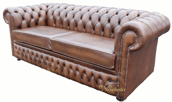 Chesterfield Winchester 3 Seater Sofa Settee Antique Brown