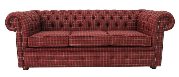 Chesterfield Arnold Wool 3 Seater Sofa Settee Balmoral Claret