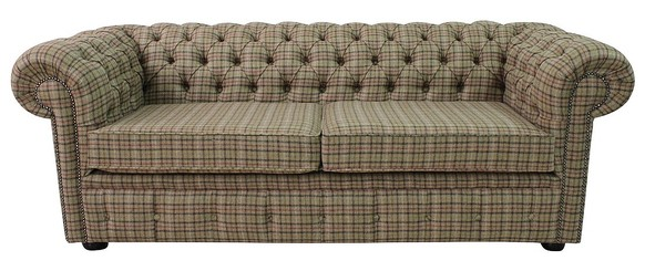 Chesterfield Arnold Wool 3 Seater Sofa Settee Balmoral Sage