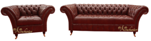 Chesterfield Balmoral 3 Seater + Armchair Sofa Settee Old English Chestnut Leather